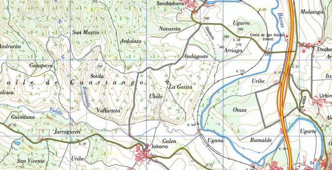 Mapa topográfico Andagoste.