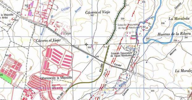 Mapa topográfico Cáceres el Viejo.